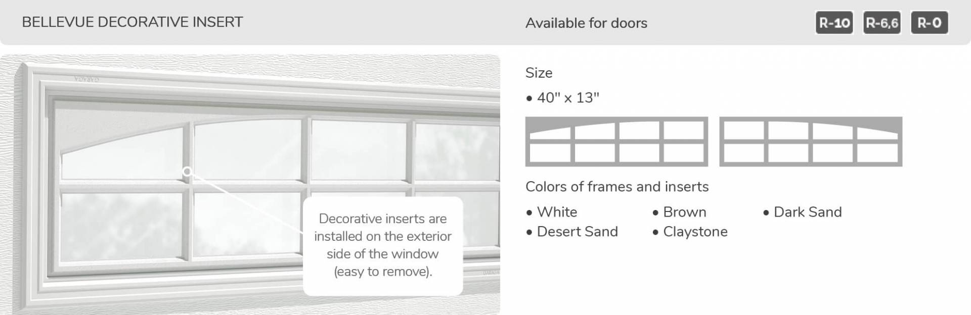 "Bellevue Decorative Insert, 40"" x 13"", available for doors R-10, R-6.6, R-0"